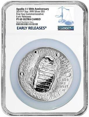AU256.63 • Buy 2019 Apollo 50th Anniv 5 Oz Proof Silver Coin NGC PF69 Early Releases