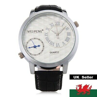 £13.99 • Buy Gents Large Silver Dual Time Face Black Genuine Leather Strap Watch