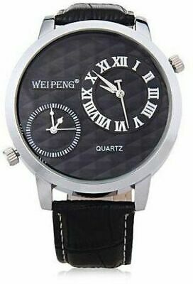 £13.99 • Buy Gents Large Black Dual Time Face Silver Bezel Black Genuine Leather Strap Watch