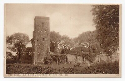 Norfolk: Hopton-on-Sea, Old Church, Destroyed By Fire 1865. Photochrom Postcard • 4.50£