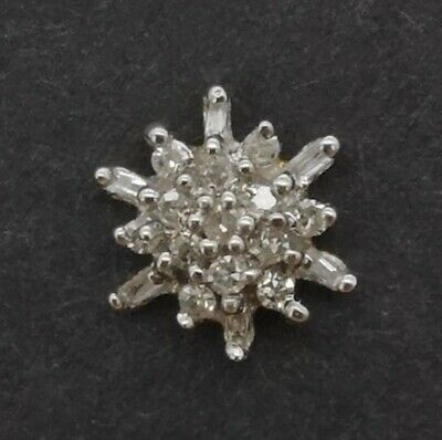 £425 • Buy 14ct Gold Diamond Cluster With Brilliant And Baguette Cut Vintage Earrings.