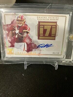 $ CDN477.63 • Buy Dwayne Haskins 2019 Panini Impeccable Auto Patch Rookie Card #RN6  # /10