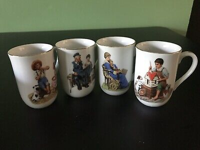 $ CDN48.36 • Buy Vintage Set Of 4 Norman Rockwell Mugs Coffee Cups Glasses / The Rockwell Museum