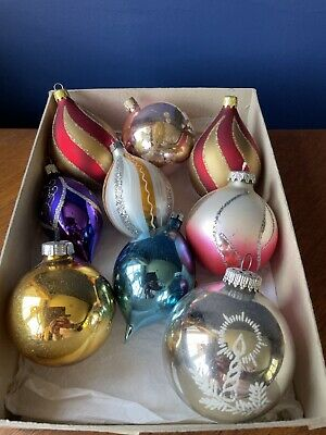 Vintage Mercury Glass Christmas Tree Decorations Baubles 9 Chocolate Boxed • 20£