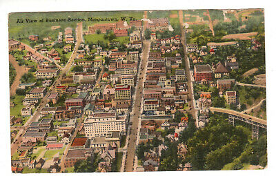 $ CDN2.41 • Buy Linen Postcard: Morgantown, WV - Aerial View Of Business Section