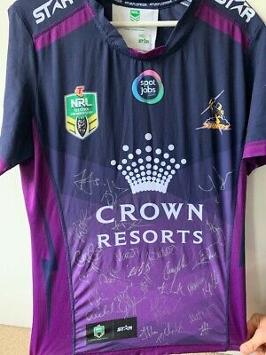 AU300 • Buy  2016 Runners-up Melbourne Storm Signed NRL Team Jersey, Size M