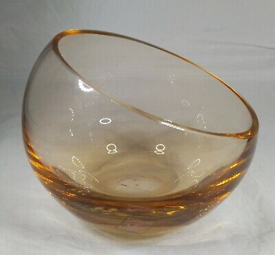 £7.99 • Buy Vintage Caithness Hand Blown Half Moon Amber Crystal / Glass Bowl