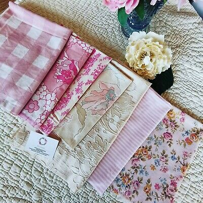 £22 • Buy Vintage Curtain Remnants Reclaimed Fabric Sanderson  Rose Sewing Mixed Pk 90