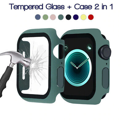$ CDN4.29 • Buy For Apple Watch Series 6 5 4 3 2 1 SE Tempered Glass + 360 Protector Case Cover