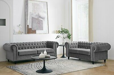 £529.99 • Buy Velvet Fabric Chesterfield Style Sofa 2 Or 3 Seater Modern Couch Suite Set