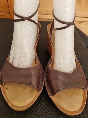 £4.25 • Buy Clarks Brown Leather Tie Ankle Cork Wedge Sandals Size 4