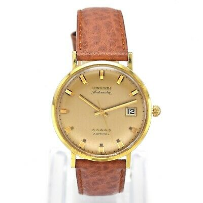 $ CDN1075.26 • Buy Vintage Longines Admiral 18K Gold Automatic Mens Date Watch 34.5 Mm