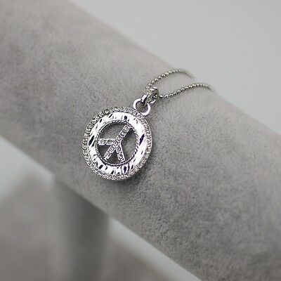 $ CDN7.24 • Buy NWT Lia Sophia Signed Jewelry Silver Plated Peace Pendant Crystal Necklace Chain