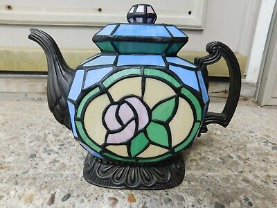 £17.74 • Buy Cheyenne Stained Glass 9 Inch Teapot Accent Table Night Light Lamp