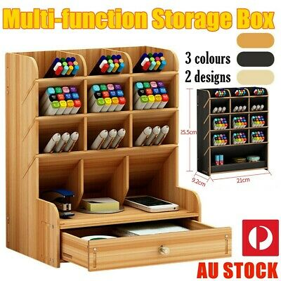 AU23.99 • Buy Office Desk Wooden Organizer Brush Storage Container Pen Pencil Holder Tool GIFT