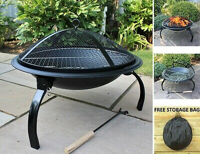 £59.95 • Buy Black Fire Pit Steel Patio Foldable  Garden Heater Outdoor Folding BBQ  Camping