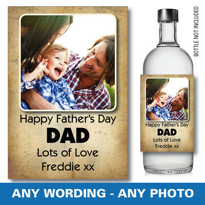 £3.16 • Buy Personalised Fathers Day Wine Gin Vodka Bottle Label Photo Birthday 50th 094