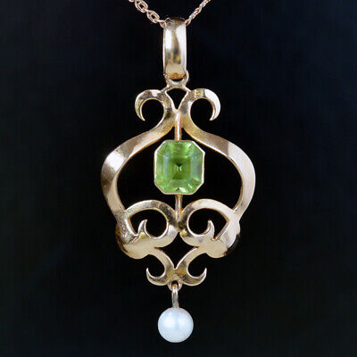 £62 • Buy Antique Edwardian Art Nouveau Rose Gold 15ct 15K 625 Pearl Drop Peridot Pendant