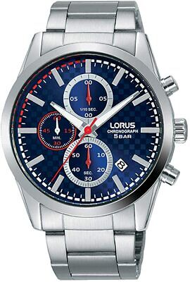 £29.99 • Buy Lorus Mens Chronograph Watch With Silver Bracelet And Blue Dial RM391FX9