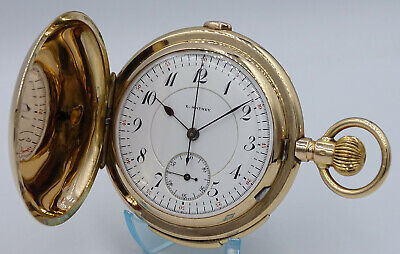 £5747.65 • Buy V.rare Solid 14k Gold Hunter E.mathey Minute Repeater Chronograph Pocket Watch