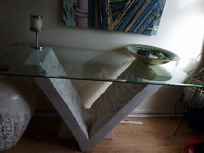 £175 • Buy Glass Top Table Fossil Stone