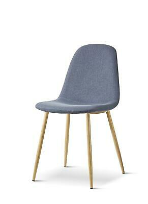£36 • Buy Retro Grey Dining Chair Fabric Padded Seat And Wood Paint Legs Home Kitchen