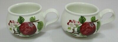 £9.99 • Buy 2x Portmeirion Pomona Hoary Morning Apple Design Squat Coffee Cups