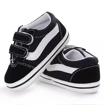 £10.99 • Buy Vans Style Canvas Baby Shoes Pram Shoes Trainers Black White 0-6 Months