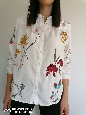 $ CDN31.53 • Buy Anthropologie White Women's Shirt Floral Embroidered Soft Long Sleeve XS S UK 8