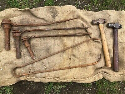 £39.99 • Buy USED VINTAGE BLACKSMITH FARRIER ANVIL SWAGE FORGE TOOLS HAMMERS Etc