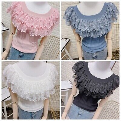 £11.01 • Buy Women Ruffle Floral Lace Knitted Vest Low Cut Tank Top Camisole Fitted Tops