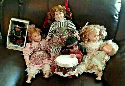 $ CDN5.99 • Buy Lot Of 6 Porcelain Dolls. Mixed Set .Including One Drum.