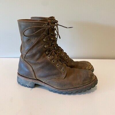 $ CDN103.11 • Buy Chippewa Mens Work Boots Brown Black Leather Lace Up Logger Mid Top Size 9 D