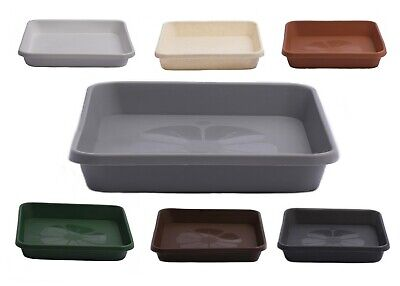 £3.59 • Buy Home Garden Ornaments Square  Plastic Plant Pot Saucers Extra Large Drip Trays