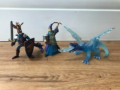 £15 • Buy Papo Toy Knight And Dragon Figure Bundle, Ice Dragon, Merlin, Blue Eagle Knight