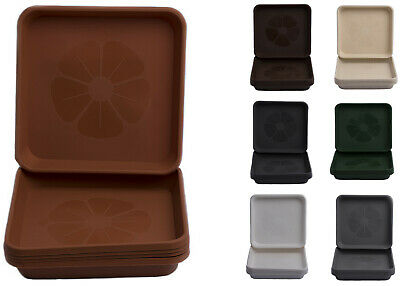 £13.89 • Buy Set Of 5 Home Garden Ornaments Square  Plastic Plant Pot Saucers Drip Trays