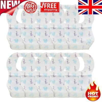 £3.27 • Buy Cartoon Elephant Disposable Baby Bibs With Food Catcher Pocket Pack Of 10