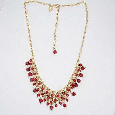 $ CDN8.46 • Buy Lia Sophia Jewelry Gold Filled Red Beads Cluster Bib Statement Necklace Chain