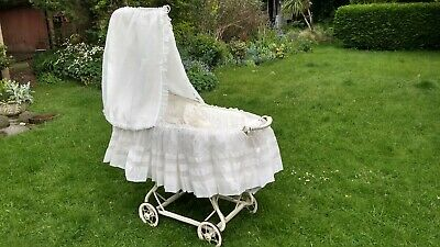 £120 • Buy Vintage Wicker Cradle Crib With Drapes. White. French Design.