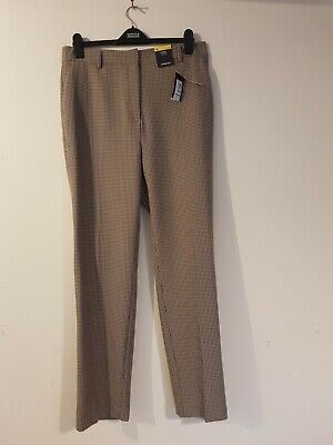 £10.99 • Buy New M&s Brown Dogtooth Straight Trousers Size 16 Long Women's Office Casual