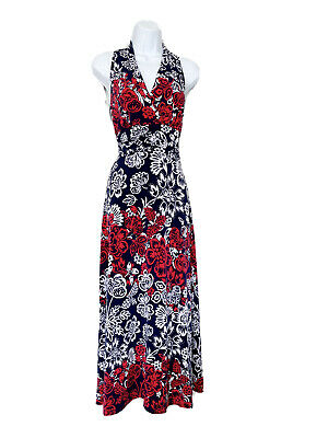£12 • Buy Precis Navy And Red Floral Maxi Dress Size L 12-14