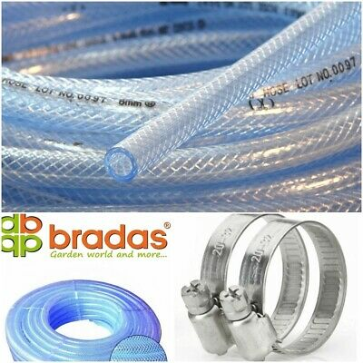£2.18 • Buy Heavy Duty Braided Clear PVC Hose Pipe - Water Air Fuel + 2 Stainless Tube Clips