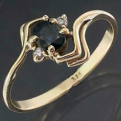 AU185 • Buy Very Large Size 9k Solid Yellow GOLD SAPPHIRE & 2 DIAMOND DRESS RING Sz X