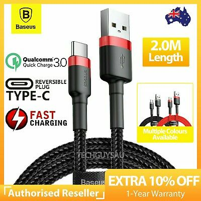 AU7.39 • Buy 2M Baseus USB-A To TYPE-C Cable QC3.0 PD Quick Charge Cable Fast Charging Cord