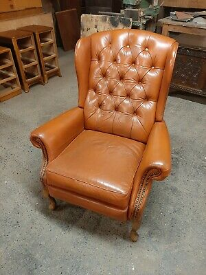 £245 • Buy Lovely Vintage Leather Wing Chair Recliner In Very Good Condition