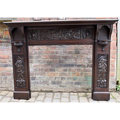 £800 • Buy Late Victorian Arts & Crafts Restored Mahogany Fire Surround
