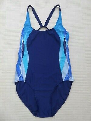 £6.99 • Buy Champion Navy / Multi Cut Out / Racer Back Low Back Swimming Costume Size 18