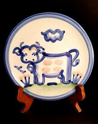 $14 • Buy M.A. Hadley  Stoneware Pottery 5.75   Cow Plate Blue