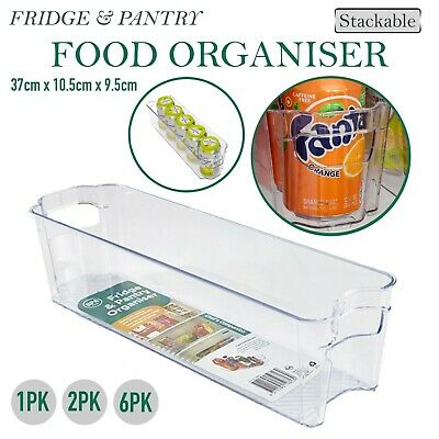 AU16.50 • Buy Fridge Pantry Organiser Stackable Clear Plastic Food Can Storage Kitchen Cabinet