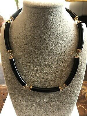 £32 • Buy Vintage Gold Tone And Black Modernist Necklace AnnaLou Of London